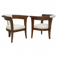 Pair of Curved Back Mahogany Chairs