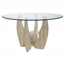 Travertine and Glass Circular Table