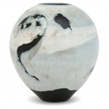 French Abstract Ceramic Vase in Light Blue, Black and White