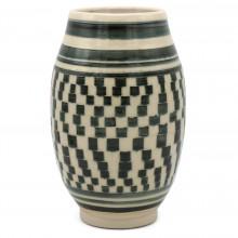 Blue and White Stoneware Vase