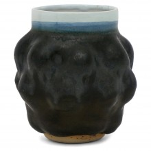Blue, Charcoal and White Stoneware Vase