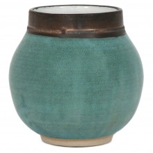 Turquoise and Bronze Stoneware Vase
