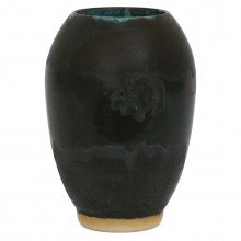 Charcoal and Black Striped Vase