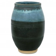 Blue and Charcoal Stoneware Vase