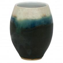 Black, Green and White Stoneware Vase