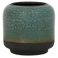 Aqua and Black Stoneware Vase