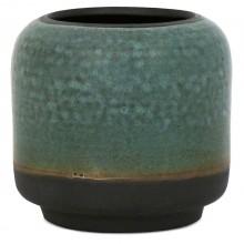 Aqua and Black Stoneware Vase