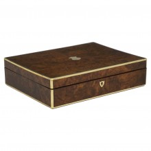 Brass Bound Burled Walnut Box