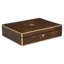 Brass Bound Burled Walnut Box