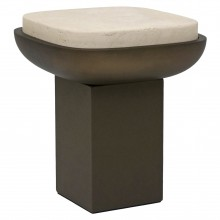 Italian Side Table in Leather and Travertine