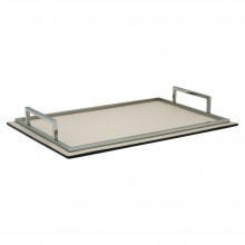 Italian Rectangular Leather and Chrome Tray