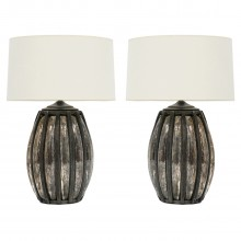 Pair of Steel and Mirrored Glass Table Lamps