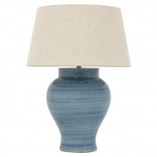 Blue Strie Stoneware Table Lamp