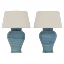Pair of Blue Strie Stoneware Table Lamps