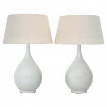 Pair of White Stoneware Table Lamps