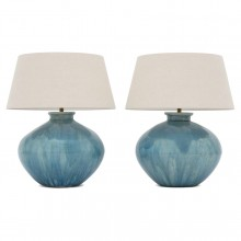 Pair of Large Blue Wash Stoneware Lamps