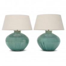 Pair of Large Blue/Green Wash Stoneware Lamps