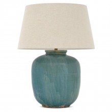 Blue/Green Wash Stoneware Lamp