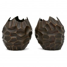 Pair of Organic Form Brass Vases