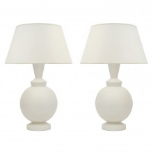 Pair of White Matte Ceramic Table Lamps
