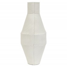 White Porcelain Corrugated Vase