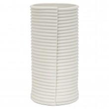 White Porcelain Corrugated Cylindrical Vase