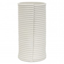 White Porcelain Corrugated Cylindrical Vase