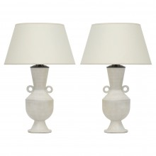 Pair of White Ceramic Shaped Lamps by John Born
