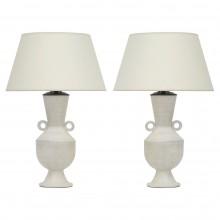 Pair of White Ceramic Shaped Lamps by John Born