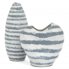 Two Blue and White Striped Vases