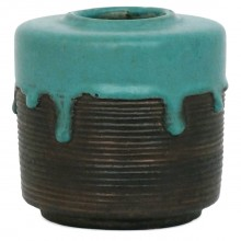Turquoise and Black Ribbed Vase