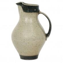 Beige and Brown Stoneware Pitcher