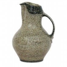 Beige and Brown Stoneware Pitcher