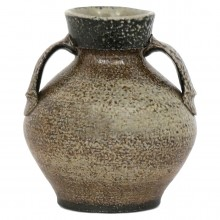 Beige and Brown Stoneware Vase