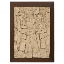 Carved Clay Wall Sculpture