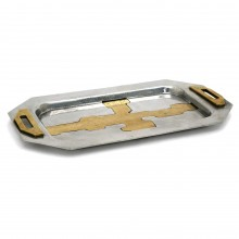 Octagonal Aluminum and Brass Tray