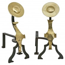 Pair of Brass and Iron Andirons