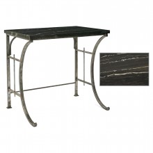 French Polished Steel Table with Marble top
