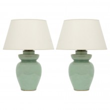 Pair of Celadon Ceramic Lamps