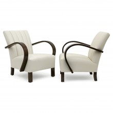 French Pair of Upholstered Arm Chairs