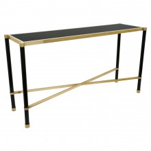 French Brass and Glass Console Table