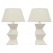 Pair of Plaster Columnar Lamps