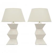 Pair of Plaster Columnar Lamps