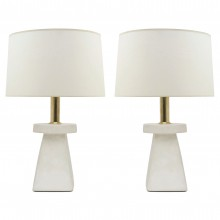 Pair of Tapered Square Plaster Lamps