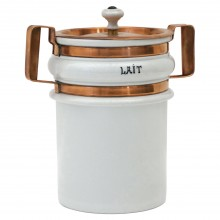 Large White Ironstone and Copper Cannisters