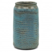 Ribbed Ceramic Vase in Light Blue and Mauve