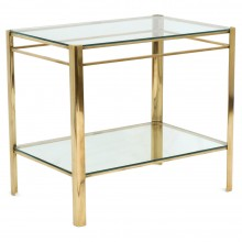 Brass and Glass Two Tiered Table