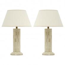 Pair of Pieced Bone Column Lamps