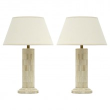 Pair of Pieced Bone Column Lamps