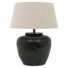 Black Crackle Glazed Terra Cotta Lamp